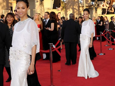 Zoe saldana en givenchy haute couture aux sag awards for Zoe dujardin