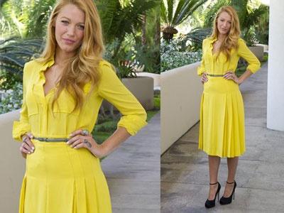 8a52263215fa Blake Lively et sa petite robe jaune