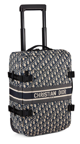Mini trolley DiorTravel en toile technique Dior Oblique bleue